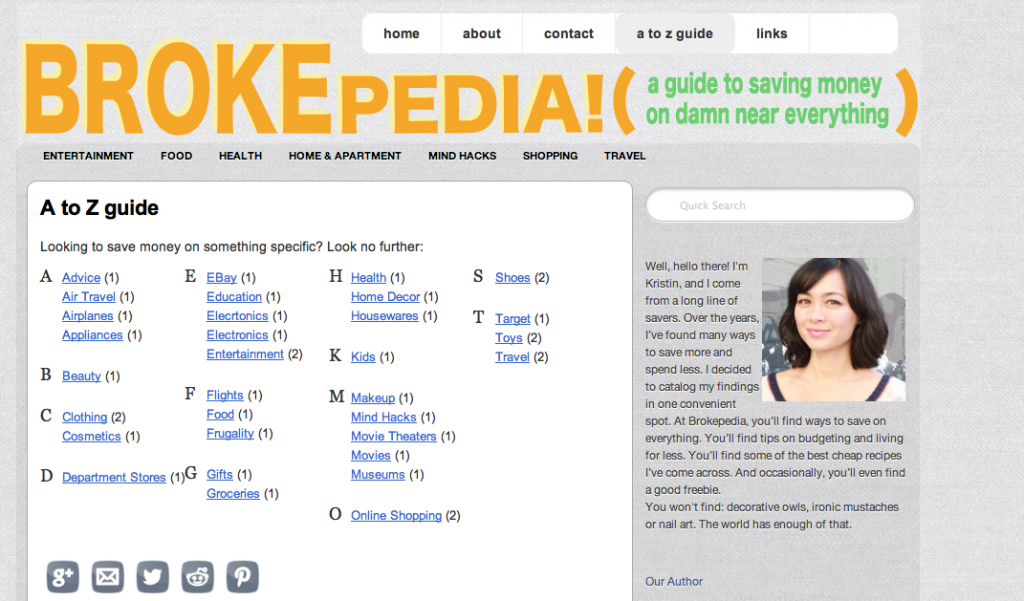Brokepedia.com, a frugal living site